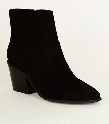 Black Square Toe Heeled Western Boots