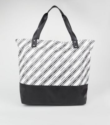 Black Stripe Love Slogan Oversized Tote Bag