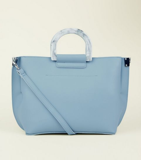 Pale Blue Marble Effect Handle Tote Bag