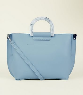 Pale Blue Marble Effect Handle Tote Bag by New Look