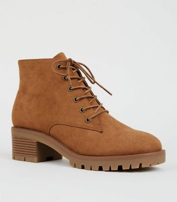 Tan Suedette Chunky Sole Lace Up Boots