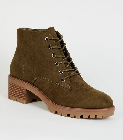 ... Khaki Suedette Chunky Sole Lace Up Boots ... 0449a20c3b26