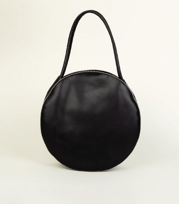 Black Studded Round Tote Bag