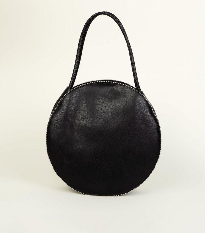 vente chaude en ligne da402 b75ab Grand sac rond noir clouté | New Look