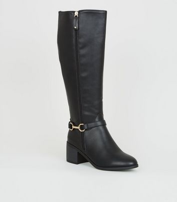 Black Leather-Look Knee High Western Boots