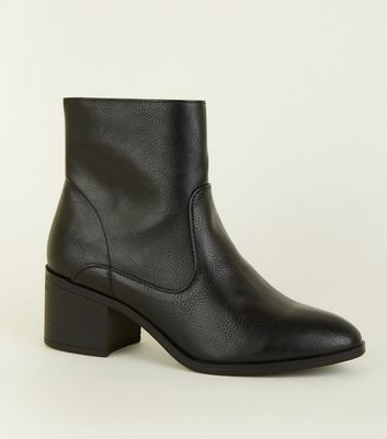 Black Leather-Look Block Heel Ankle Boots