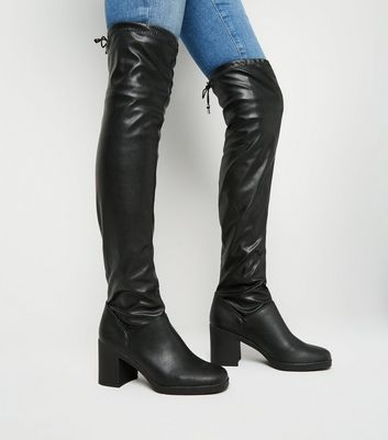 Black Leather-Look Square Toe Over the