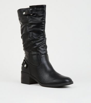 Black Leather-Look Square Toe Biker Boots