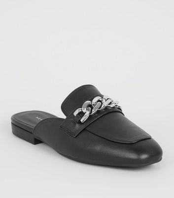 Black Chain Strap Loafer Mules | New Look
