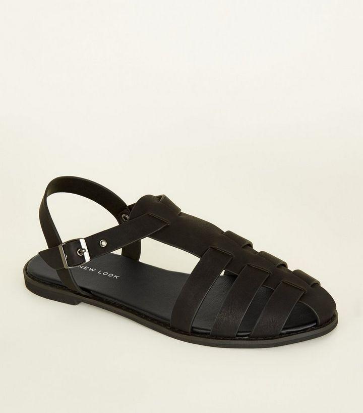 Perth Blackborough Scultore rischio  Black Leather-Look Caged Flat Sandals | New Look