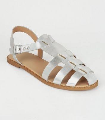 Silver Metallic Leather-Look Caged Flat Sandals