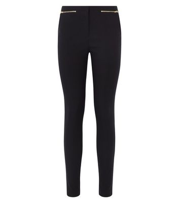 Black Zip Slim Leg Bengaline Trousers New Look