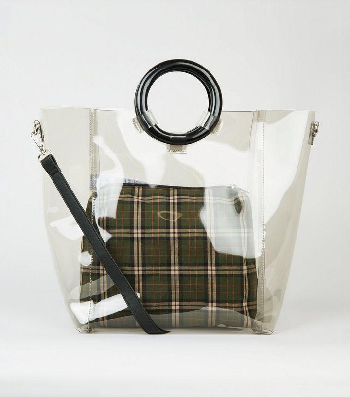 e5f48266d1fe5d Black Tinted Ring Handle Tote Bag   New Look