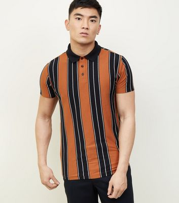 Rust Vertical Stripe Polo T-Shirt