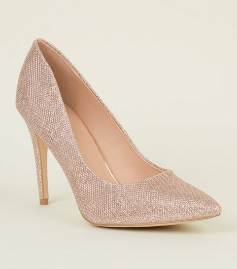 a0555a2b4696 ... Rose Gold Glitter Pointed Court Shoes ...