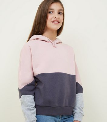 Girls Pink Colour Block Hoodie