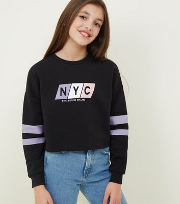 Girls Black NYC Slogan Pastel Block Sweatshirt