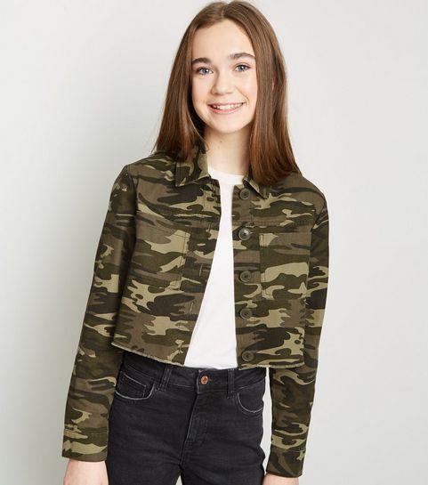 9e8197dd7ca2 ... Girls Green Camo Utility Jacket ...