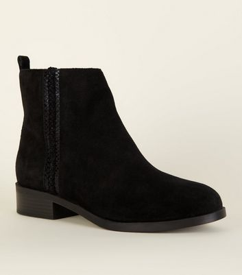 Wide Fit Black Suede Flat Boots