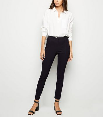 Black Belted Stretch Slim Fit Trousers