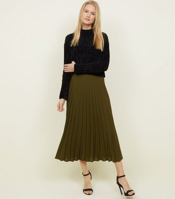 Khaki Pleated Midi Skirt