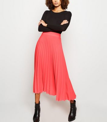 Bright Pink Neon Pleated Midi Skirt