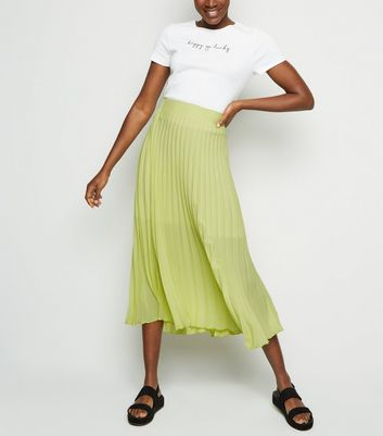 Yellow Neon Pleated Midi Skirt