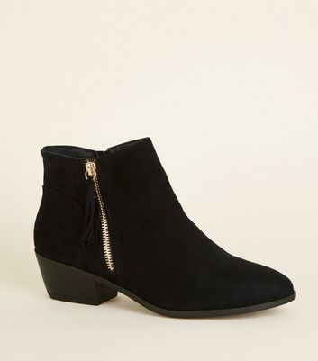 Wide Fit Black Tassel Side Western Boots