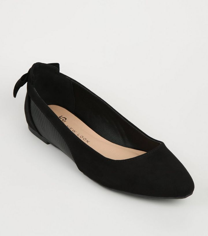 1fa7a10edae Girls Black Suedette and Faux Snake Pumps
