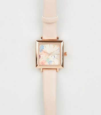 Rose Gold Floral Face Square Watch
