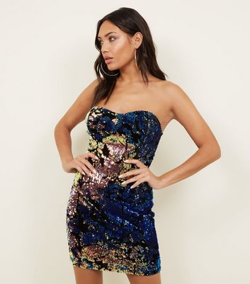 Cameo Rose Black Velvet Sequin Bustier Dress