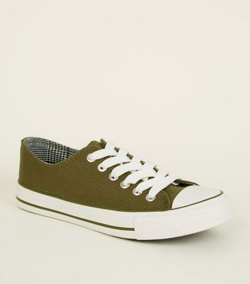 Girls Khaki Double Tongue Lace Up Trainers