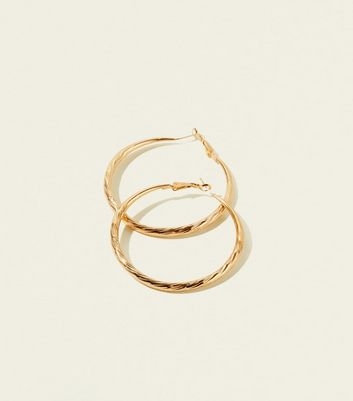 RE:BORN Gold Ridged Hoop Earrings