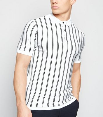 Off White Vertical Stripe Polo Shirt