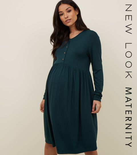 Maternity Dark Green Nursing Smock Dress