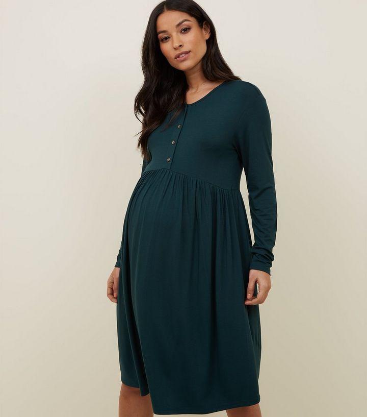 b5ce522da13c6 Maternity Dark Green Nursing Smock Dress | New Look