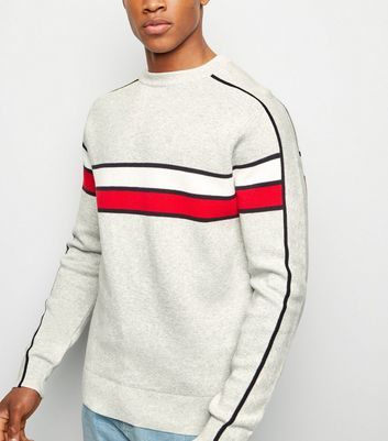 Pale Grey Colour Block Jumper
