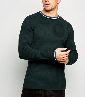 Dark Green Ringer Neck Muscle Fit Jumper