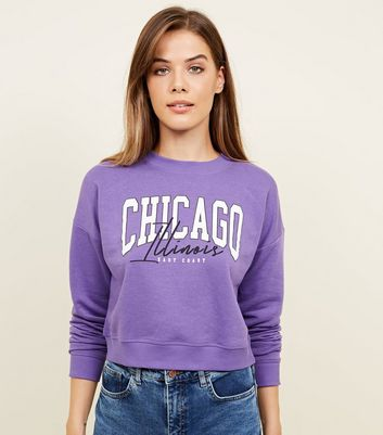Sweat violet à slogan Chicago East Coast
