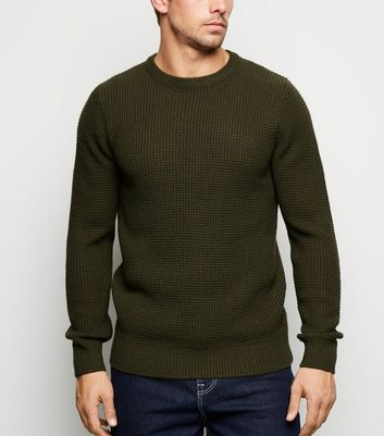 Olive Crew Neck Waffle Knit Jumper