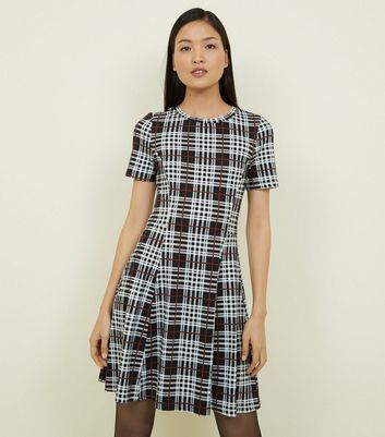 Black Check Soft Touch Skater Dress