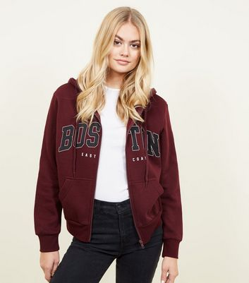 Burgundy Boston Print Zip Up Hoodie
