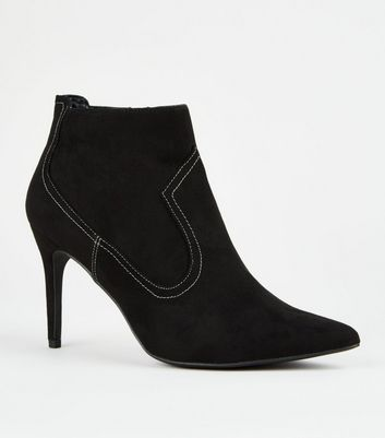 Black Western Stitch Stiletto Ankle Boots