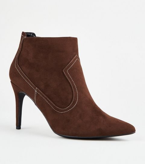 5c5d3ff84bc ... Rust Western Stitch Stiletto Ankle Boots ...