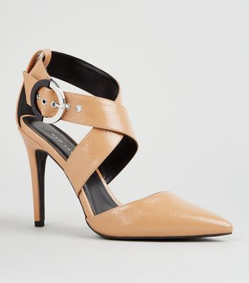 Camel Patent Cross Strap Ring Buckle Heels