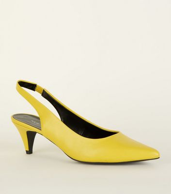 Yellow Elasticated Slingback Kitten Heels