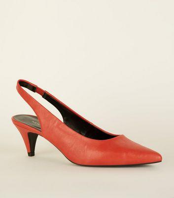 Red Elasticated Slingback Kitten Heels
