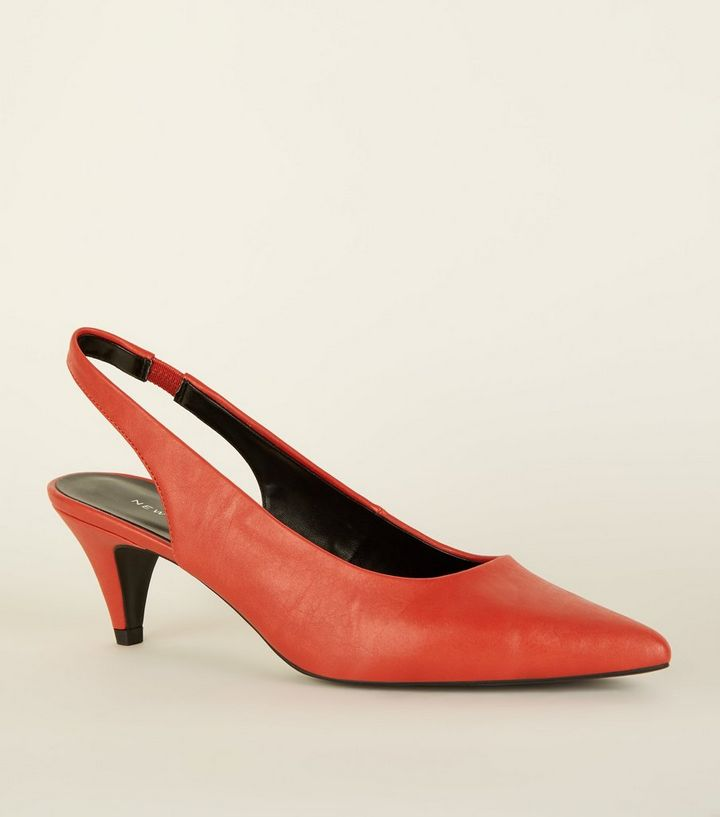 97ee55cdd816 Red Elasticated Slingback Kitten Heels