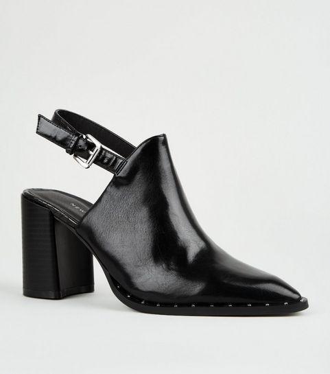 534420f55f4 ... Black Patent Stud Trim Slingback Shoe Boots ...