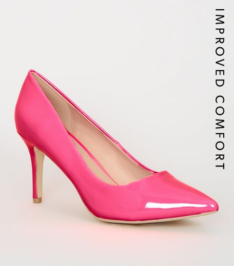 cf854b81e8c ... Pink Neon Patent Pointed Court Shoes ...